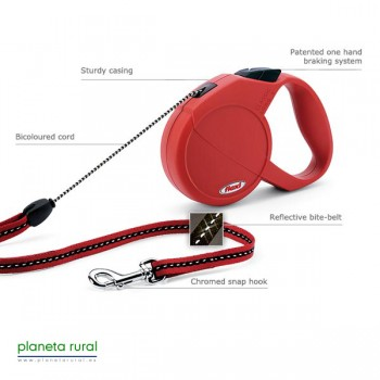 FLEXI CLASSIC LONG 1 7MT 12KG ROJO