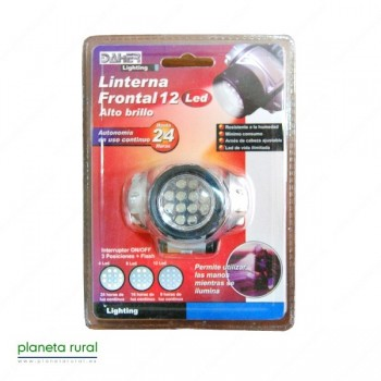 LINTERNA FRONTAL 12 LEDS ALTO BRILLO