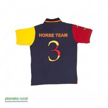 CAMISETA-POLO HORSE-TEAM Nº3 AZUL L